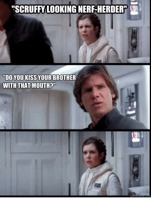 """Memes, 🤖, and Nerf: """"SCRUFFY LOOKING NERF-HERDER  """"DO YOU KISS YOUR BROTHER  WITH THAT MOUTH"""
