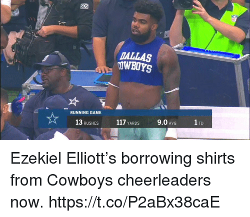 Dallas Cowboys, Dallas, and Game: SDS  DALLAS  OWBOYS  RUNNING GAME  13 RUSHES  117 YARDS  9.0 AVG  1 TD Ezekiel Elliott's borrowing shirts from Cowboys cheerleaders now. https://t.co/P2aBx38caE