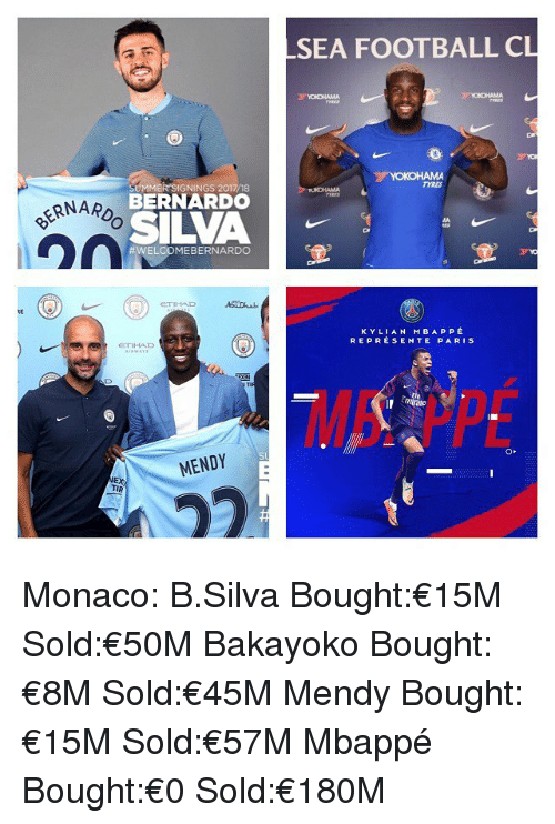 Football, Memes, and Monaco: SEA FOOTBALL CL  TYRES  UMMER SIGNINGS 2017/18  BERNARDO  SILVA  RNARD  #WEL MEBERNARDO  RE  K Y LIAN MBAPPÉ  REPREÉSENTE PARIS  Fly  EX  TIR Monaco: B.Silva Bought:€15M Sold:€50M Bakayoko Bought:€8M Sold:€45M Mendy Bought:€15M Sold:€57M Mbappé Bought:€0 Sold:€180M