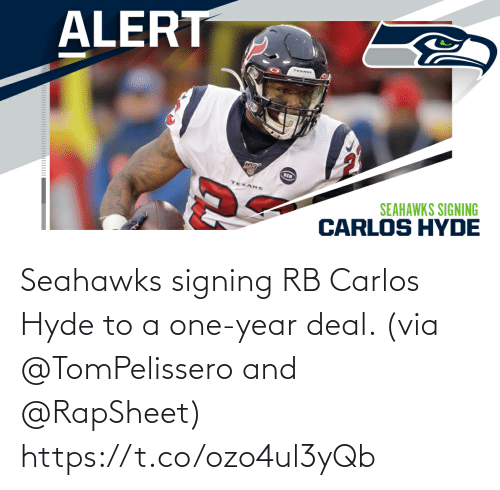 Memes, Seahawks, and 🤖: Seahawks signing RB Carlos Hyde to a one-year deal. (via @TomPelissero and @RapSheet) https://t.co/ozo4ul3yQb