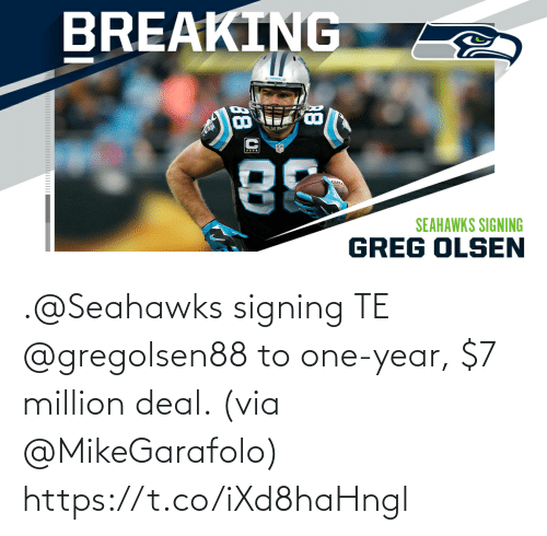 Memes, Seahawks, and 🤖: .@Seahawks signing TE @gregolsen88 to one-year, $7 million deal. (via @MikeGarafolo) https://t.co/iXd8haHngl