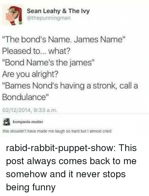 "Funny, Target, and Tumblr: Sean Leahy & The Ivy  @thepunningman  ""The bond's Name. James Name""  Pleased to... what?  ""Bond Name's the james""  Are you alright?  ""Bames Nond's having a stronk, call a  Bondulance""  02/12/2014, 9:33 a.m.  kompanie-mutter  this shouldn't have made me laugh so hard but I almost cried rabid-rabbit-puppet-show:  This post always comes back to me somehow and it never stops being funny"