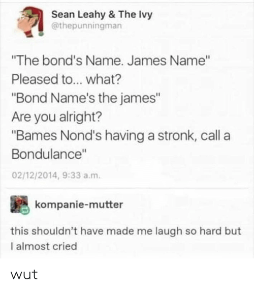 "Memes, Alright, and 🤖: Sean Leahy & The Ivy  @thepunningman  ""The bond's Name. James Name""  Pleased to... what?  ""Bond Name's the james""  Are you alright?  ""Bames Nond's having a stronk, call a  Bondulance""  02/12/2014, 9:33 a.m.  kompanie-mutter  this shouldn't have made me laugh so hard but  I almost cried wut"