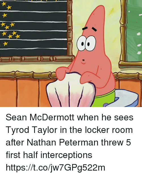 SpongeBob, Sports, and Tyrod Taylor: Sean McDermott when he sees Tyrod Taylor in the locker room after Nathan Peterman threw 5 first half interceptions https://t.co/jw7GPg522m