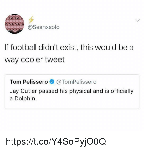 Football, Jay, and Memes: @Seanxsolo  If football didn't exist, this would be a  way cooler tweet  Tom Pelissero@TomPelissero  Jay Cutler passed his physical and is officially  a Dolphin. https://t.co/Y4SoPyjO0Q