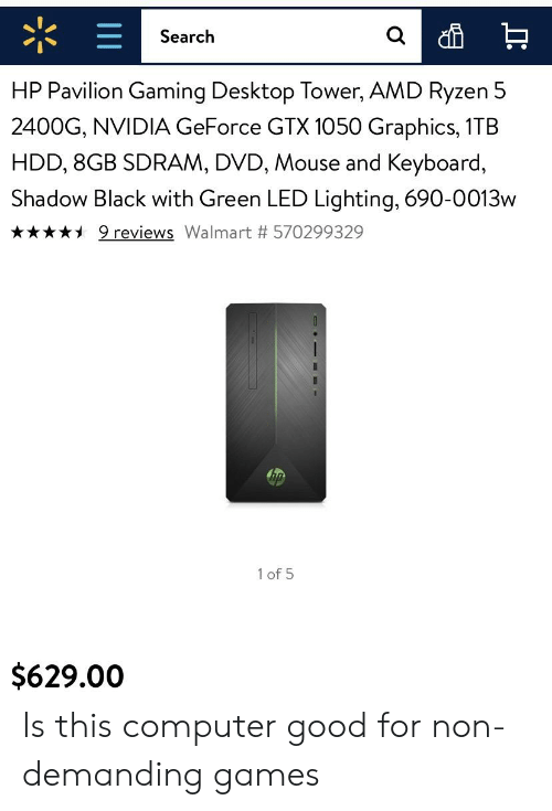 Search HP Pavilion Gaming Desktop Tower AMD Ryzen 5 2400G