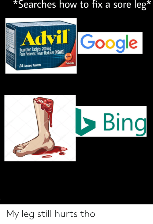 Advil, Google, and Bing: *Searches how to fix a sore  leg*  Advil Google  Ibuprofen Tablets, 200 mg  Pain Reliever/Fever Reducer (NSAID)  Advil  T  24 Coated Tablets  Tablets  Bing  osl shotos  ohotos  A My leg still hurts tho
