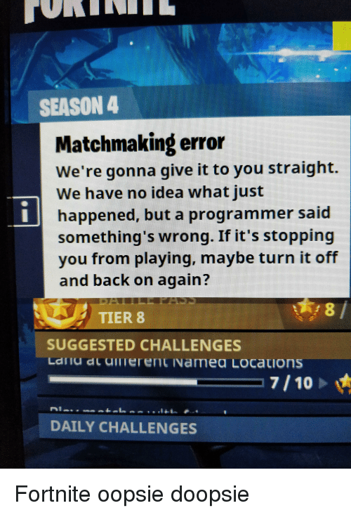 Matchmaking failed Blacklist