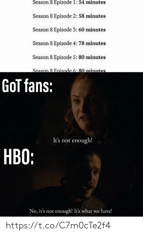 Hbo, Got, and 60 Minutes: Season 8 Episode 1: 54 minutes  Season 8 Episode 2: 58 minutes  Season 8 Episode 3: 60 minutes  Season 8 Episode 4: 78 minutes  Season 8 Episode 5: 80 minutes  Season 8 Enisode 6:80 minute  GoT fans:  It's not enough!  HBO:  No, it's not enough! It's what we have! https://t.co/C7m0cTe2f4