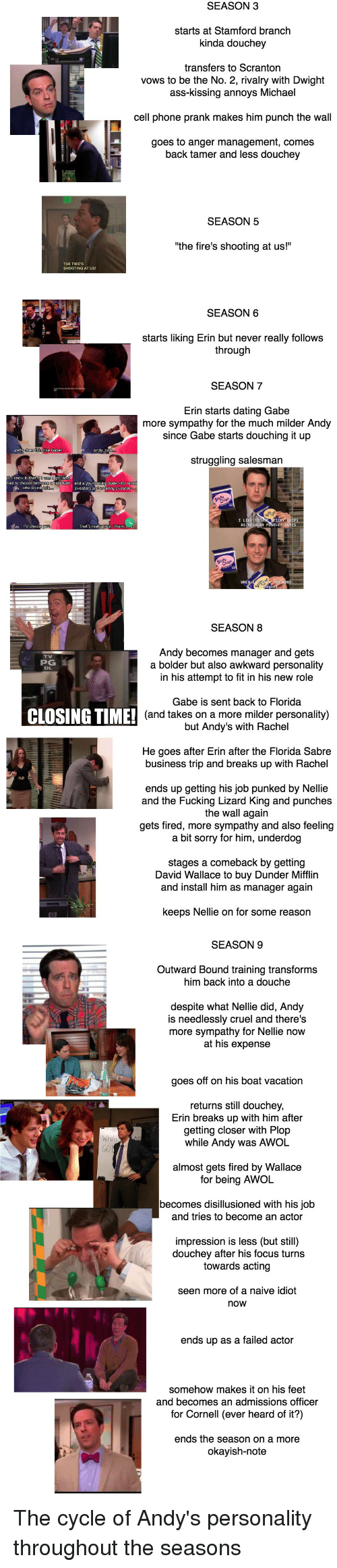 "Ass, Dating, and Fucking: SEASON3  starts at Stamford branch  kinda douchey  transfers to Scranton  vows to be the No. 2, rivalry with Dwight  ass-kissing annoys Michael  cell phone prank makes him punch the wall  goes to anger management, comes  back tamer and less douchey  SEASON 5  the fire's shooting at us!""  SEASON 6  starts liking Erin but never really follows  through  SEASON 7  Erin starts dating Gabe  more sympathy for the much milder Andy  since Gabe starts douching it up  struggling salesman  SEASON 8  Andy becomes manager and gets  a bolder but also awkward personality  in his attempt to fit in his new role  PG  Gabe is sent back to Florida  (and takes on a more milder personality)  but Andy's with Rachel  CLOSING TIME!  He goes after Erin after the Florida Sabre  business trip and breaks up with Rachel  ends up getting his job punked by Nellie  and the Fucking Lizard King and punches  the wall again  gets fired, more sympathy and also feeling  a bit sorry for him, underdog  stages a comeback by getting  David Wallace to buy Dunder Mifflin  and install him as manager again  keeps Nellie on for some reason  SEASON 9  Outward Bound training transforms  him back into a douche  despite what Nellie did, Andy  is needlessly cruel and theres  more sympathy for Nellie now  at his expense  goes off on his boat vacation  returns still douchey  Erin breaks up with him after  getting closer with Plop  while Andy was AWOL  almost gets fired by Wallace  for being AWOL  becomes disillusioned with his job  and tries to become an actor  impression is less (but still)  douchey after his focus turns  towards acting  seen more of a naive idiot  now  ends up as a failed actor  somehow makes it on his feet  and becomes an admissions officer  for Cornell (ever heard of it?)  ends the season on a more  okayish-note The cycle of Andy's personality throughout the seasons"