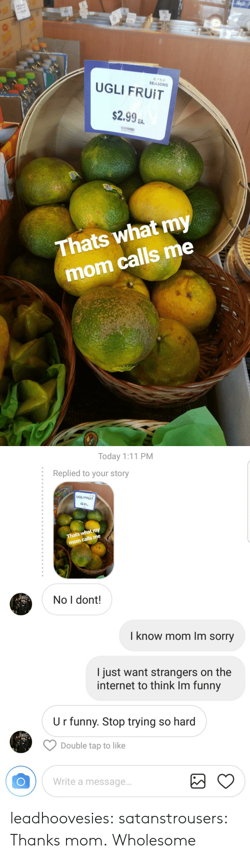 Funny, Internet, and Sorry: SEASONS  UGLI FRUIT  $2.9%.  EA.  Thats what my  mom calls me   Today 1:11 PM  :  Replied to your story  UGLI FRUIT  2.99a  Thats what my  calls me  mom  No I dont!  I know mom Im sorry  I just want strangers on the  internet to think Im funny  U r funny. Stop trying so hard  Double tap to like  Write a message.. leadhoovesies:  satanstrousers: Thanks mom.  Wholesome