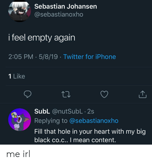Iphone, Twitter, and Black: Sebastian Johansen  @sebastianoxho  i feel empty again  2:05 PM 5/8/19 . Twitter for iPhone  1 Like  SubL @nutSubL 2s  Replying to @sebastianoxho  Fill that hole in your heart with my big  black co.c.. I mean content. me irl