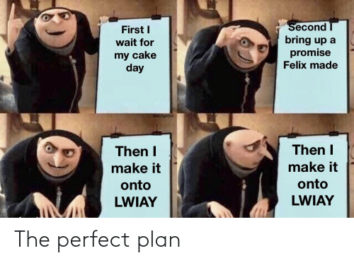 Cake, Day, and First: Second  First I  bring up a  promise  Felix made  wait for  my cake  day  Then I  Then I  make it  make it  onto  onto  LWIAY  LWIAY The perfect plan