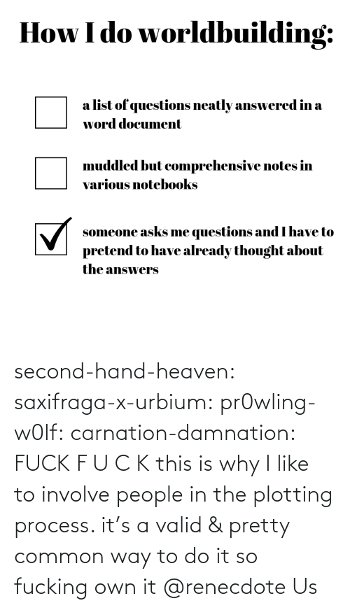 Heaven, Target, and Tumblr: second-hand-heaven:  saxifraga-x-urbium:  pr0wling-w0lf:  carnation-damnation: FUCK   F U C K    this is why I like to involve people in the plotting process. it's a valid & pretty common way to do it so fucking own it    @renecdote Us