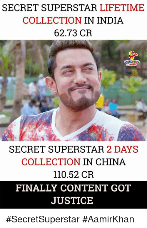 Andrew Bogut, China, and India: SECRET SUPERSTAR LIFETIME  COLLECTION IN INDIA  62.73 CR  HING  SECRET SUPERSTAR 2 DAYS  COLLECTION IN CHINA  110.52 CR  FINALLY CONTENT GOT  JUSTICE #SecretSuperstar #AamirKhan