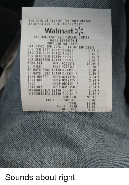 See Back of Receipt for Your Chance Ta Uin $1000 ID