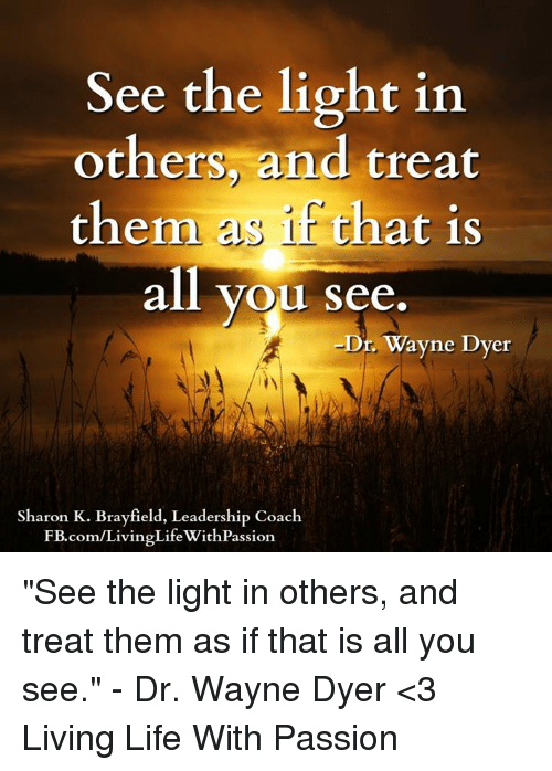 See The Light In Others And Treat Them As That Is All You See Dr