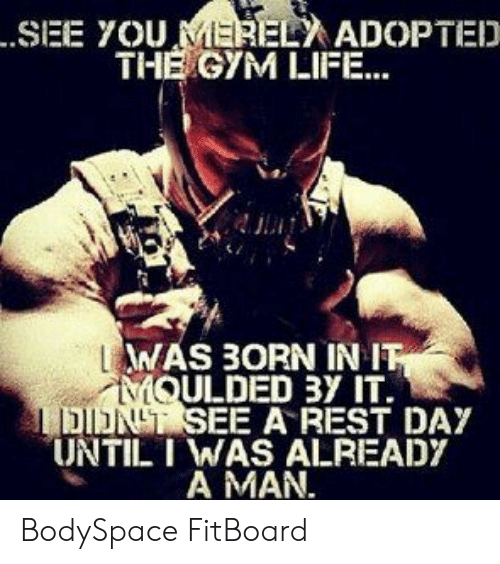 Gym, Life, and Rest: .SEE YOU MEREL ADOPTED  THE GYM LIFE...  WAS 3ORN IN IT  MQULDED 3Y IT.  DINT SEE A REST DAY  UNTIL I WAS ALREADY  A MAN. BodySpace FitBoard