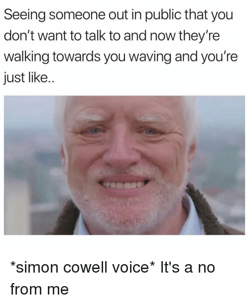 Seeing Someone Out In Public That You Don T Want To Talk To And Now They Re Walking Towards You Waving And You Re Just Like Simon Cowell Voice It S A No From Me