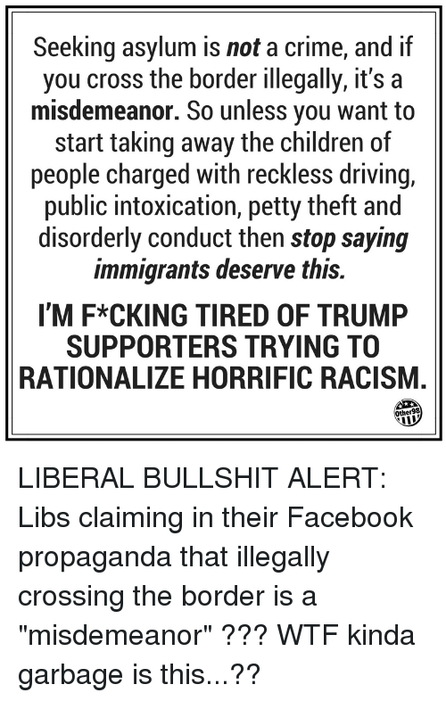 Children, Crime, and Driving: Seeking asylum is not a crime, and if  you cross the border illegally, it's a  misdemeanor. So unless you want to  start taking away the children of  people charged with reckless driving,  public intoxication, petty theft and  disorderly conduct then stop saying  immigrants deserve this.  I'M F*CKING TIRED OF TRUMP  SUPPORTERS TRYING TO  RATIONALIZE HORRIFIC RACISM.  ther98