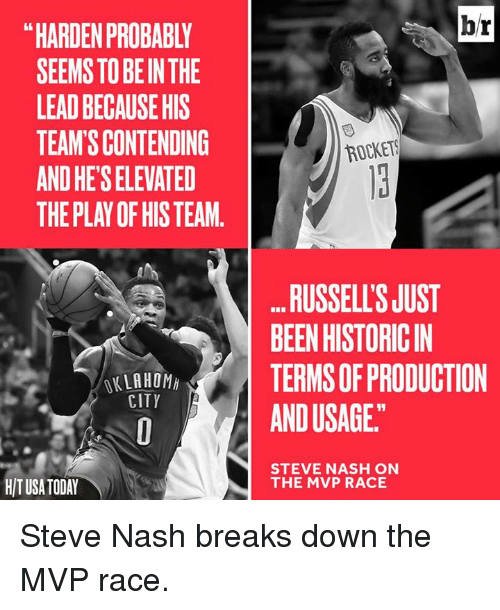 "Oklahoma, Steve Nash, and Today: SEEMS TO BEIN THE  LEADBECAUSEHIS  TEAM SCONTENDING  ANDHETSELEVATED  THE PLAY OF HIS TEAM  OKLAHOMA  CITY  HIT USA TODAY  br  ROCKETS  RUSSELLSJUST  BEENHISTORICIN  TERMS OF PRODUCTION  ANDUSAGE""  STEVE NASH ON  THE MVP RACE Steve Nash breaks down the MVP race."