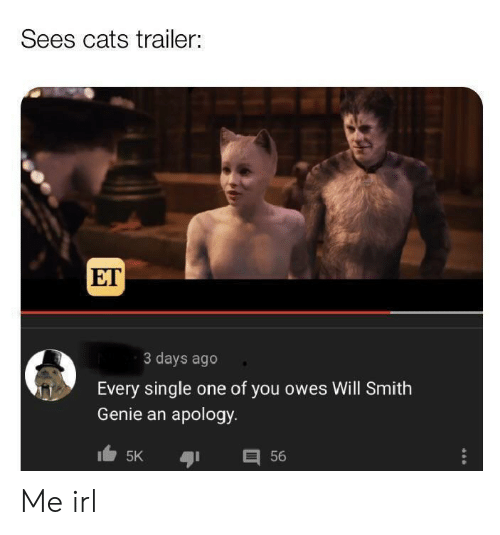 Cats, Will Smith, and Irl: Sees cats trailer:  ET  3 days ago  Every single one of you owes Will Smith  Genie an apology  目56  5K Me irl