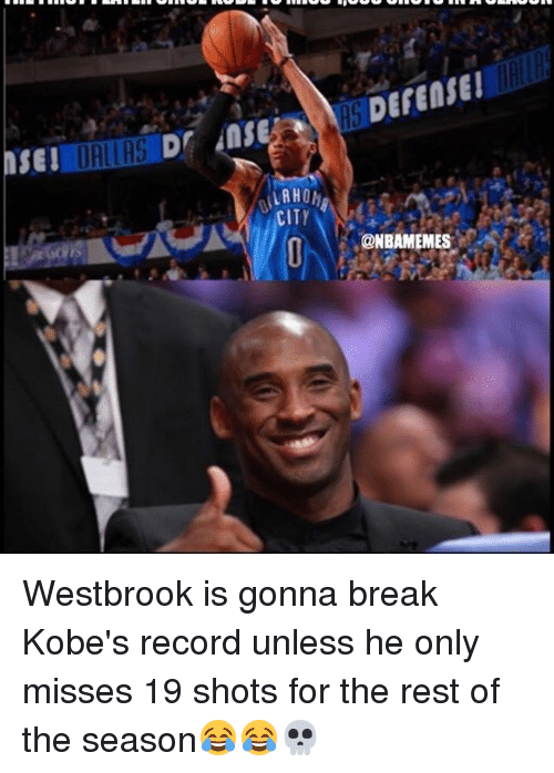 Memes, 🤖, and Rest: SEI  LAHOh  CITY  DEFENSE  ONBAMEMES Westbrook is gonna break Kobe's record unless he only misses 19 shots for the rest of the season😂😂💀