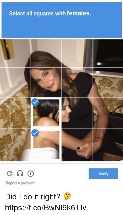 Memes, 🤖, and Did: Select all squares with females.  Verify  Report a problem Did I do it right? 🤔 https://t.co/BwNI9k6TIv