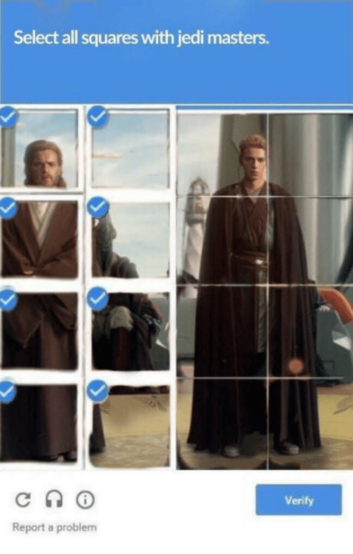 Jedi, Masters, and All: Select all squares with jedi masters.  Verify  Report a problem