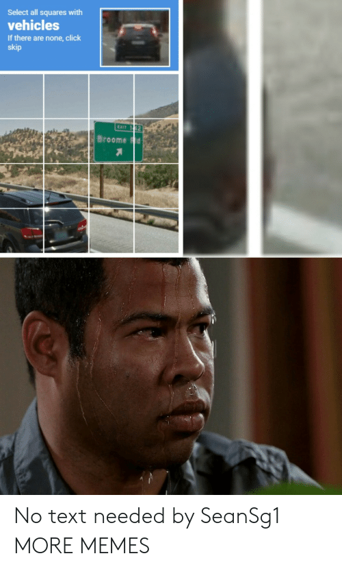 Click, Dank, and Memes: Select all squares with  vehicles  If there are none,click  skip  EXIT 1 42  Broome Fd No text needed by SeanSg1 MORE MEMES