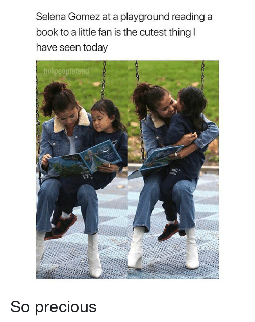 Precious, Selena Gomez, and Book: Selena Gomez at a playground reading a  book to a little fan is the cutest thing  have seen today  hotpeoplefeed So precious