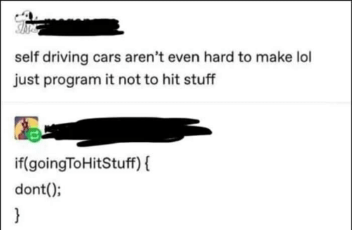 Cars, Driving, and Lol: self driving cars aren't even hard to make lol  just program it not to hit stuff  if(goingToHitStuff) (  dont();
