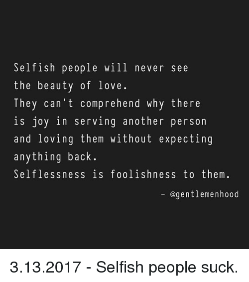 Can a selfish person love