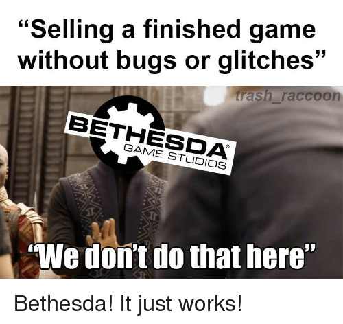 Selling a Finished Game Without Bugs or Glitches Rash Raccoon BETHESDA GAME  STUDIOS We Dom't Do That Here <p>Bethesda! It Just Works!<p> | Game Meme on  ME.ME