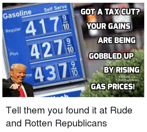Memes, Rude, and Gas Prices: Selt Serve GOT A TAXGUTP  YOUR GAINS  ARE BEING  GOBBLED UP  Regular  Plus  437  10  BY RISING  me  FB/Rude and  Rotten Republicans  GAS PRICES! Tell them you found it at Rude and Rotten Republicans