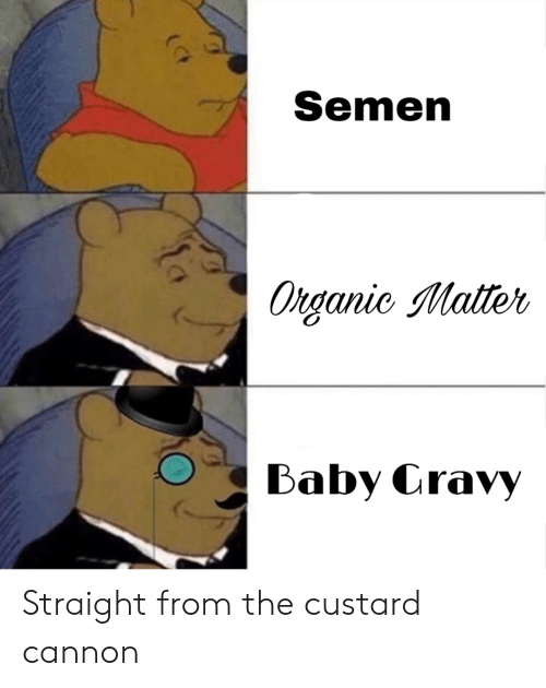 Reddit, Baby, and Cannon: Semen  Organic Matter  Baby Cravy Straight from the custard cannon