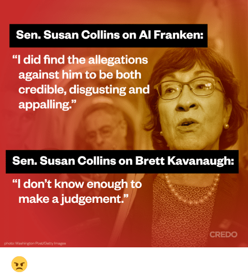 Image result for susan collins hypocrisy al franken