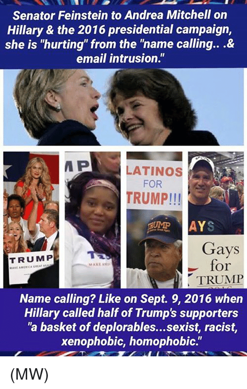 "Memes, Sept, and Andrea Mitchell: Senator Feinstein to Andrea Mitchell on  Hillary & the 2016 presidential campaign,  she is ""hurting"" from the ""name calling...&  email intrusion.""  P  LATINOS  FOR  TRUMP!!!  AYS  Gays  TRUMP  for  MAKE ANP  TRUMP  Name calling? Like on Sept. 9, 2016 when  Hillary called half of Trump's supporters  ""a basket of deplorables...sexist, racist,  xenophobic, homophobic."" (MW)"