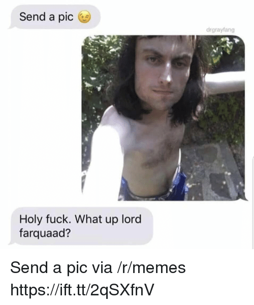 Memes, Fuck, and Lord: Send a pic  drgrayfang  Holy fuck. What up lord  farquaad? Send a pic via /r/memes https://ift.tt/2qSXfnV