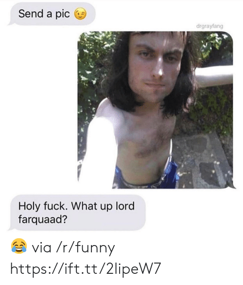 Funny, Fuck, and Lord: Send a pic  drgrayfang  Holy fuck. What up lord  farquaad? 😂 via /r/funny https://ift.tt/2IipeW7