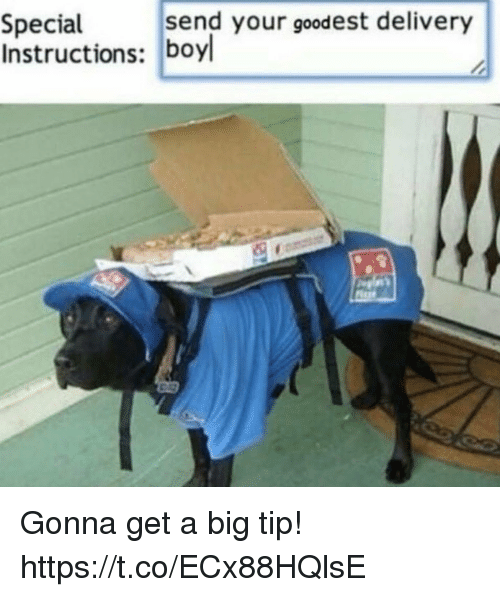 Funny, Big, and Get: send your goodest delivery  Special  Instructions: boyl Gonna get a big tip! https://t.co/ECx88HQlsE