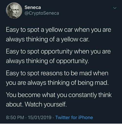 Dank, Iphone, and Twitter: Seneca  @CryptoSeneca  Easy to spot a yellow car when you are  always thinking of a yellow car.  Easy to spot opportunity when you are  always thinking of opportunity  Easy to spot reasons to be mad when  you are always thinking of being mad.  You become what you constantly think  about. Watch yourself.  8:50 PM.15/01/2019 Twitter for iPhone