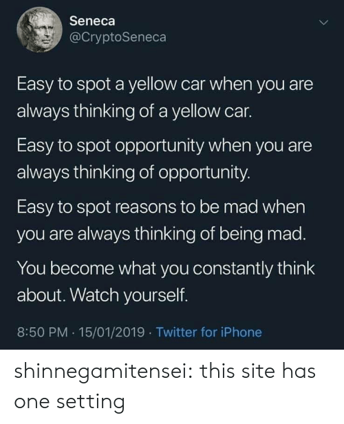Iphone, Tumblr, and Twitter: Seneca  @CryptoSeneca  Easy to spot a yellow car when you are  always thinking of a yellow car.  Easy to spot opportunity when you are  always thinking of opportunity  Easy to spot reasons to be mad when  you are always thinking of being mad.  You become what you constantly think  about. Watch yourself.  8:50 PM .15/01/2019 Twitter for iPhone shinnegamitensei:  this site has one setting