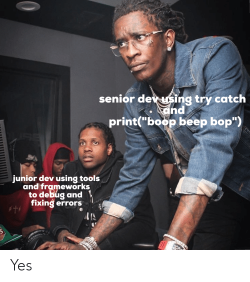 "Boop, Yes, and Dev: senior dev sing try catch  and  print(""boop beep bop"")  junior dev using tools  and frameworks  to debug and  fixing errors Yes"