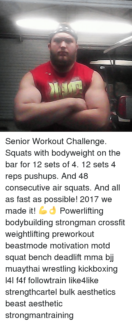 Senior Workout Challenge Squats With Bodyweight on the Bar