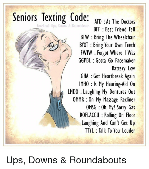 Seniors Texting Code Atd At The Dector Atd At The Doctors Bff Best Friend Fell Btw Bring The Wheelchair Byot Bring Your Own Teetlh Fwiw Forgot Where I Was Ggpbl Gotta Go