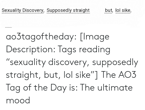 """Lol, Mood, and Target: Seoxualite Discovery, Supposedly straightbut, lol sike, ao3tagoftheday:  [Image Description: Tags reading """"sexuality discovery, supposedly straight, but, lol sike""""]  The AO3 Tag of the Day is: The ultimate mood"""