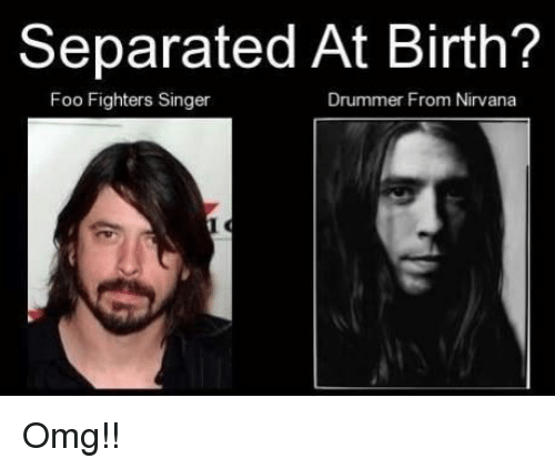 separated at birth foo fighters singer drummer from nirvana omg 3456112 separated at birth? foo fighters singer drummer from nirvana omg,Foo Fighters Meme