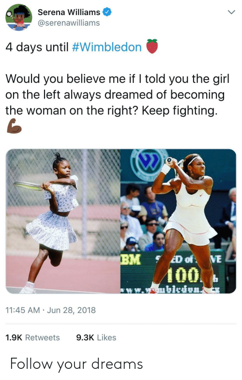 Anaconda, Serena Williams, and Girl: Serena Williams  @@serenawilliams  4 days until #Wimbledon  Would you believe me if I told you the girl  on the left always dreamed of becoming  the woman on the right? Keep fighting  100  11:45 AM Jun 28, 2018  1.9K Retweets  9.3K Likes Follow your dreams