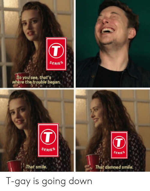 Smile, Gay, and Damned: SERIES  o you see, that's  where the trouble began.  T)  SERIES  SERIES  That smile.  That damned smile. T-gay is going down